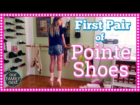 GETTING FITTED FOR FIRST PAIR OF POINTE SHOES