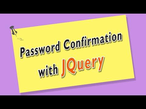 jQuery Tutorial - Password Confirmation