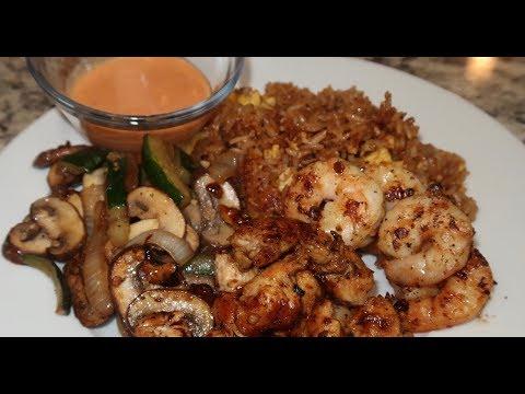 CHICKEN & SHRIMP HIBACHI AT HOME! + HOMEMADE YUM YUM SAUCE! 😋😋😋
