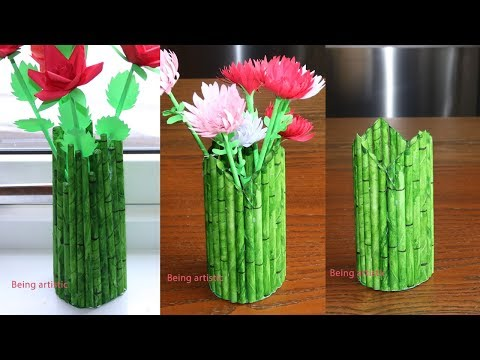 How To Make  A Paper Flower Vase/Pen Stand -  DIY Simple Paper Craft