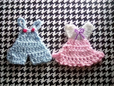 How to Crochet Baby Shower Mini Overalls & Dress Patterns