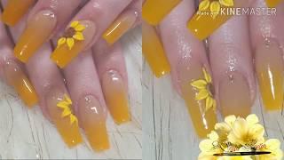 Ombre Nails Uñas Color Mostaza
