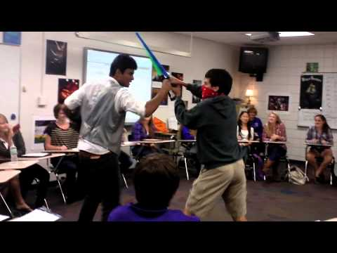 Asking someone to homecoming in a cowboy light-saber duel.