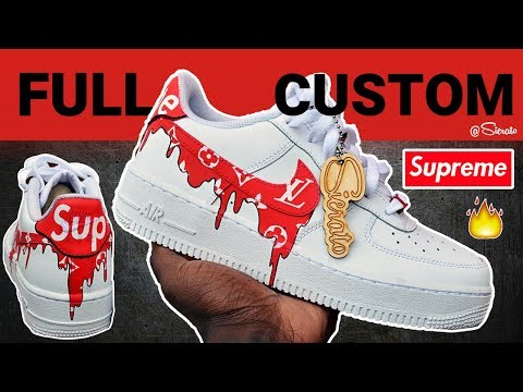 Full Custom | Supreme Louis Vuitton Drip Air Force Ones for Kristen Hancher! With On Foot by Sierato