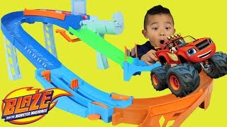 BLAZE And The Monster Machines Toy Unboxing Flip & Race Speedway Ckn Toys