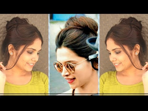 1 Min TOP Messy Bun Hairstyle Inspired By Deepika Padukone  | DIY Quick Messy Bun