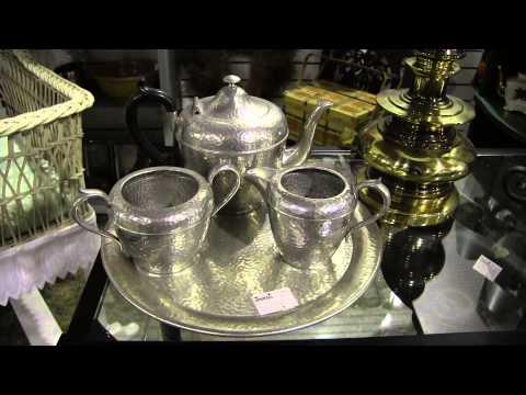 Antique Hammered Pewter tea set