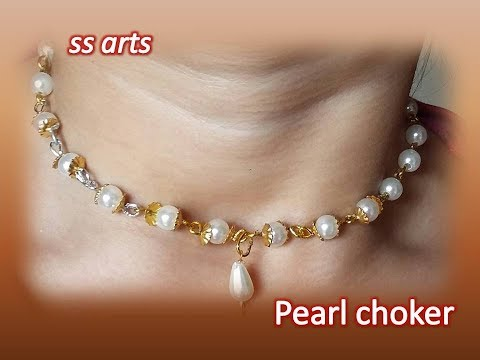 How to make Pearl Choker at Home //Pearl jewellery //Beads choker making at home