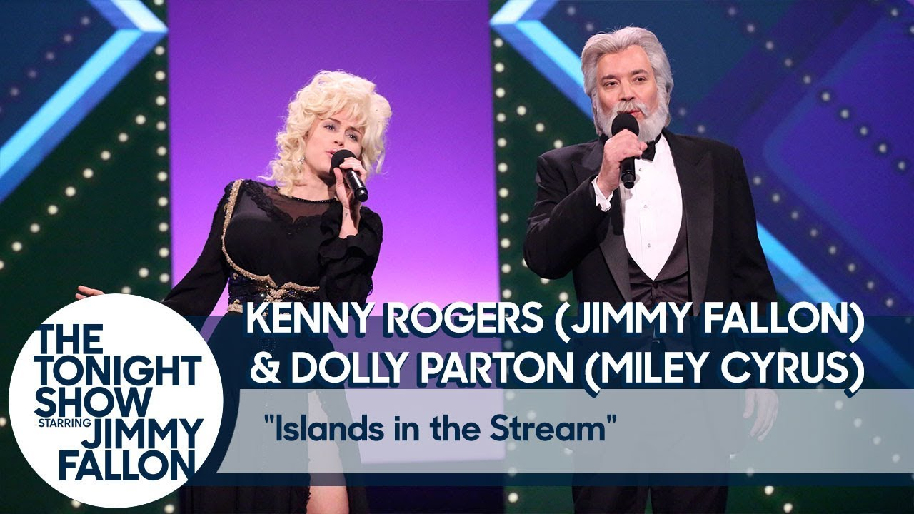"""Jimmy Fallon and Miley Cyrus Recreate Kenny Rogers and Dolly Parton's """"Islands in the Stream"""""""