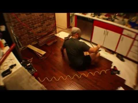 Tappar tears out Tile, makes a tool, and installs wood floors