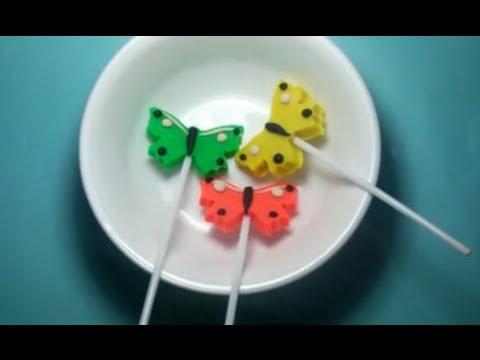 Play-doh butterfly lollipops