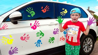 Download Eli cleaning Car with Washing Toys and goes to a Big Car Wash Video