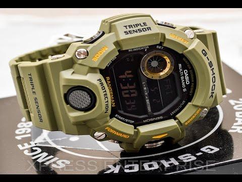Casio GSHOCK Rangeman GW9400-3 REVIEW   How To Set Time   LIGHT DISPLAY