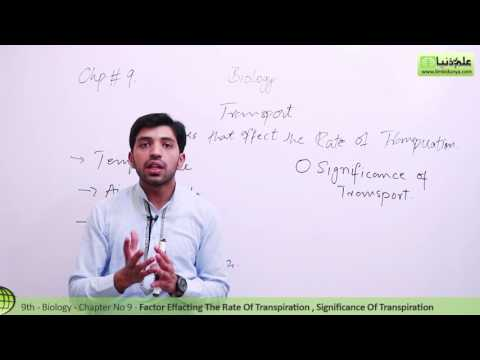 Factors Affecting the Rate of Transpiration Biology - Biology Ch 9 Transport biology - 9th Class