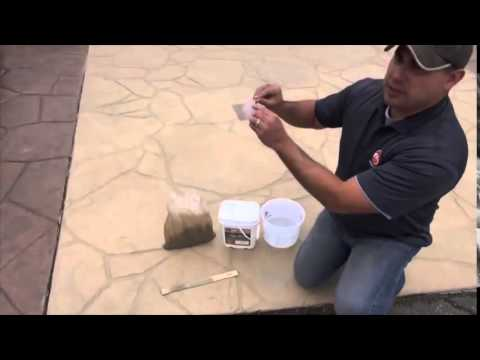 Staining & restoring stamped & exposed concrete