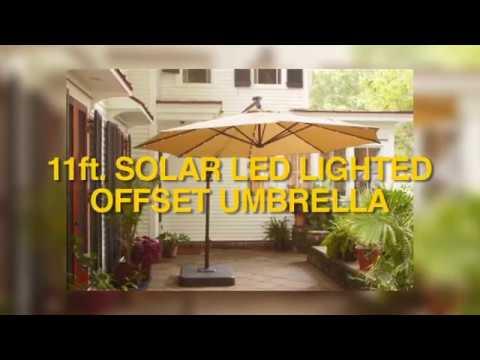 Home Depot 11ft Offset Solar LED Umbrella Assembly Instructions