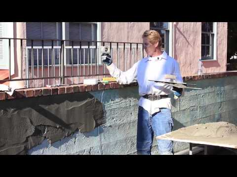 Plaster or Render a Concrete, brick or Cinderblock wall,  no cracking
