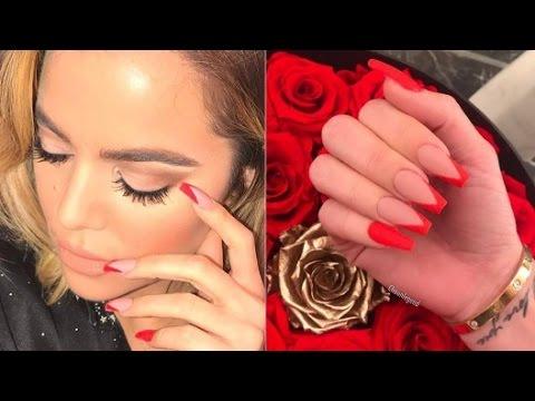 Khloe Kardashian Hot Red Inspired Nails