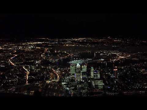 Cockpit View Landing London City Airport At Night