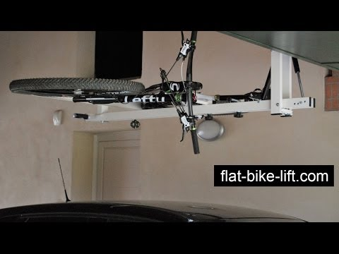 flat-bike-lift: the Ceiling Hydro-Pneumatic Bike Rack