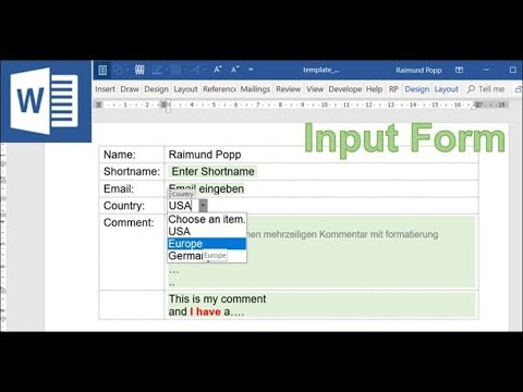 Create a Word Input Form with Inputfields