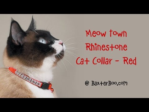 Meow Town Rhinestone Cat Collar - Red