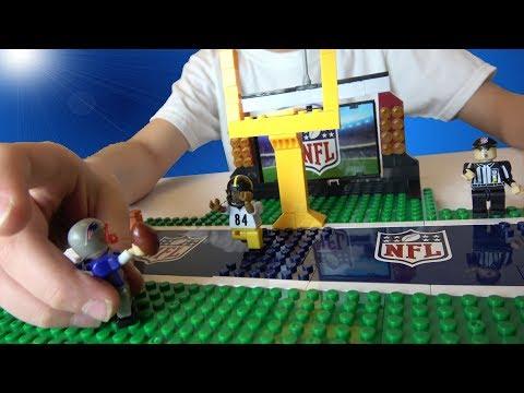 NFL Playmaker set - LEGO Compatible - Tom Brady Patriots Minifigure - NFL Field and Goal Post