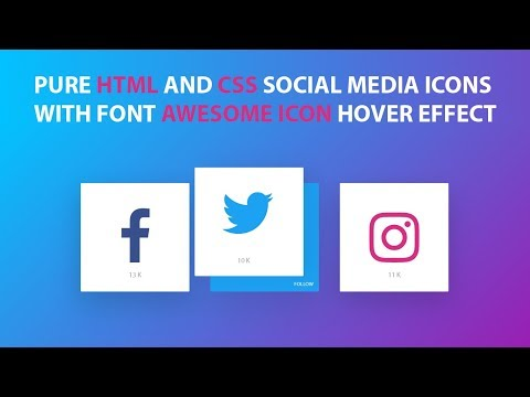 Pure Html and Css Social Media Icons With Font Awesome icon hover effect