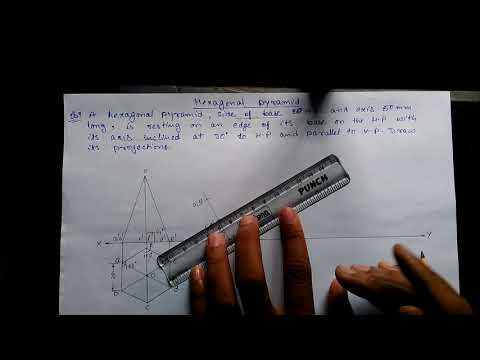 Problem of hexagonal pyramid of projection of solid