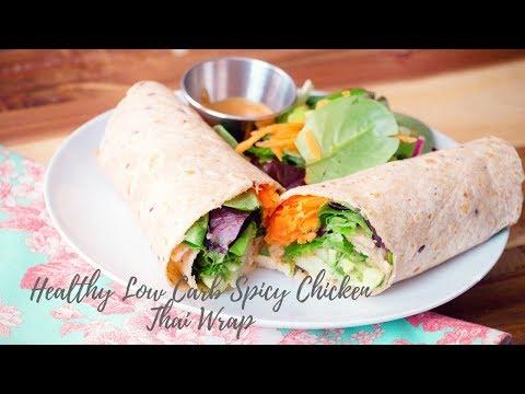 How to make Healthy Low Carb Spicy Thai Chicken Wrap - Chicken Thai Peanut Wrap