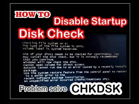Disable startup disk check - How to Disable automatic Disk Checking Windows 7