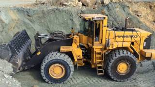 Volvo L330E Wheel Loader Loading Trucks With Three Passes