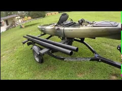 Double kayak trailer converted from jet ski trailer
