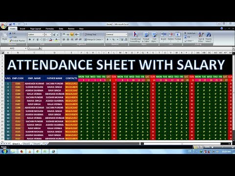 Exercise 03 | Excel Practice Book | How To Make Attendance Sheet With Salary In Ms Excel