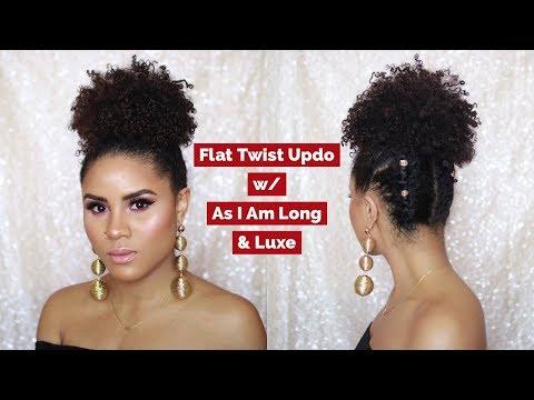 FLAT TWIST UPDO ON NATURAL HAIR | AS I AM LONG & LUXE | CURLSFOTHEGIRLS
