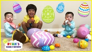 Easter Egg Hunts for the first time with twin babies on Ryan