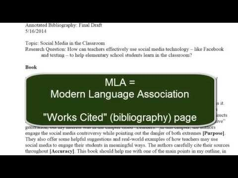 MLA Style and Annotated Bibliography (Final Project)