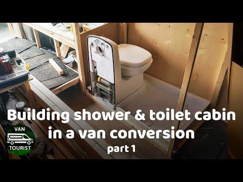 Shower and Toilet cabin building in van conversion. Wood frame. Bathroom for diy campervan or RV.