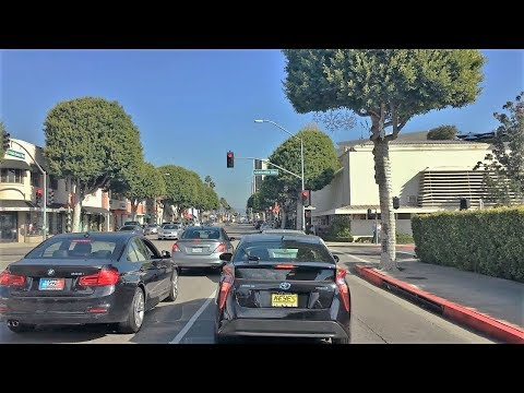 Driving Downtown - LA's Santa Monica Street 4K - Los Angeles USA
