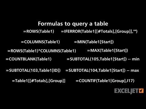 Formulas to query a table