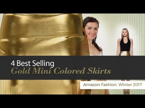 4 Best Selling Gold Mini Colored Skirts Amazon Fashion, Winter 2017