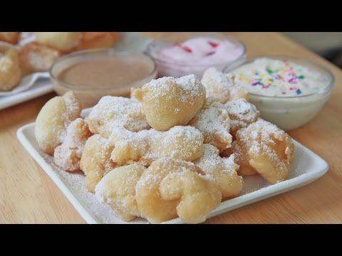 Easy Funnel Cake Bites  + 3 Dipping Sauces