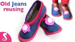 DIY Old Jeans Upcycle | Winter Care Shoe from Old Jeans | DIY House wearing slippers from jeans