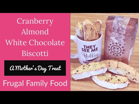 Cranberry Almond White Chocolate Biscotti Recipe || Frugal Family Food