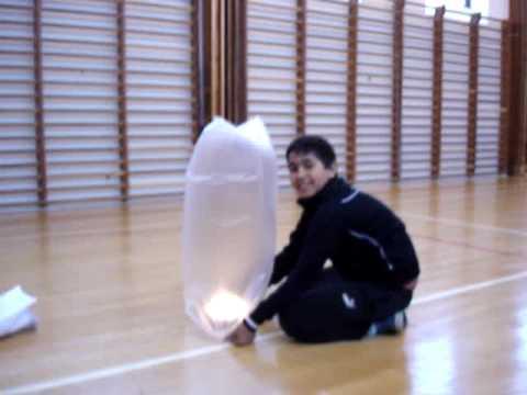 Plastic bag hot air balloon