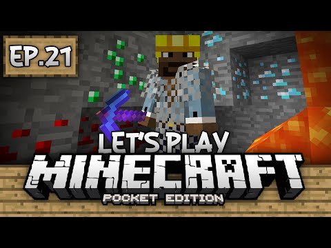 Survival Let's Play Ep. 21 - Diamonds, Emeralds, & Fortune Picks!!! - Minecraft PE (Pocket Edition)
