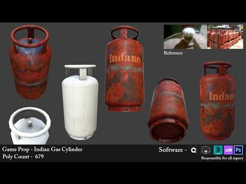 Gas Cylinder Modelling, Unwrapping and Texturing || Speed Video