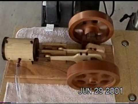All wood model steam engine running