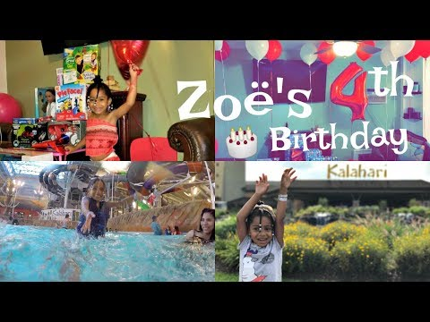 Zoë's 4th Birthday Trip Adventure!! Never Ending Fun at Kalahari + Opening Presents!