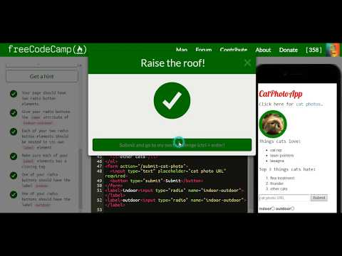 freeCoderCamp Tutorial 25: create set of radio buttons